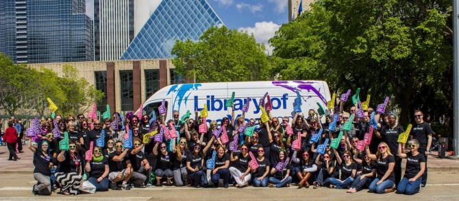 Staff celebrate 2014 Library of the Year win