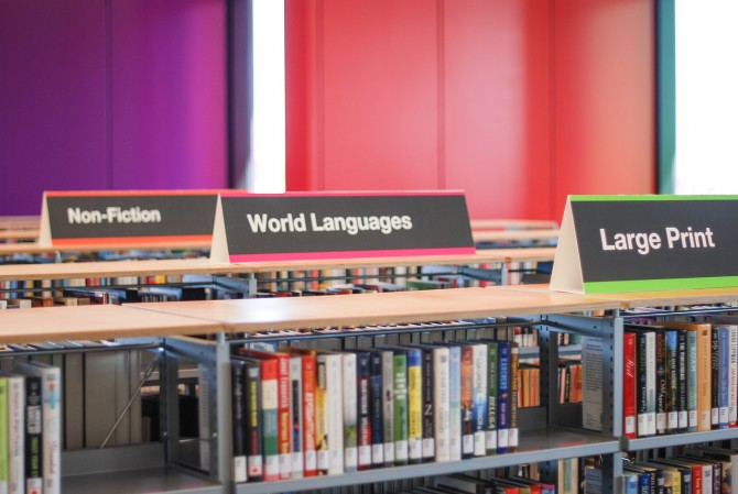 World languages materials in the Meadows branch.