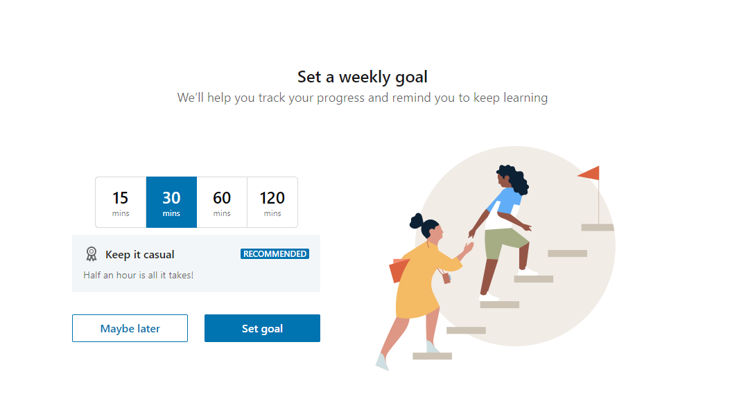 Set your weekly learning goal