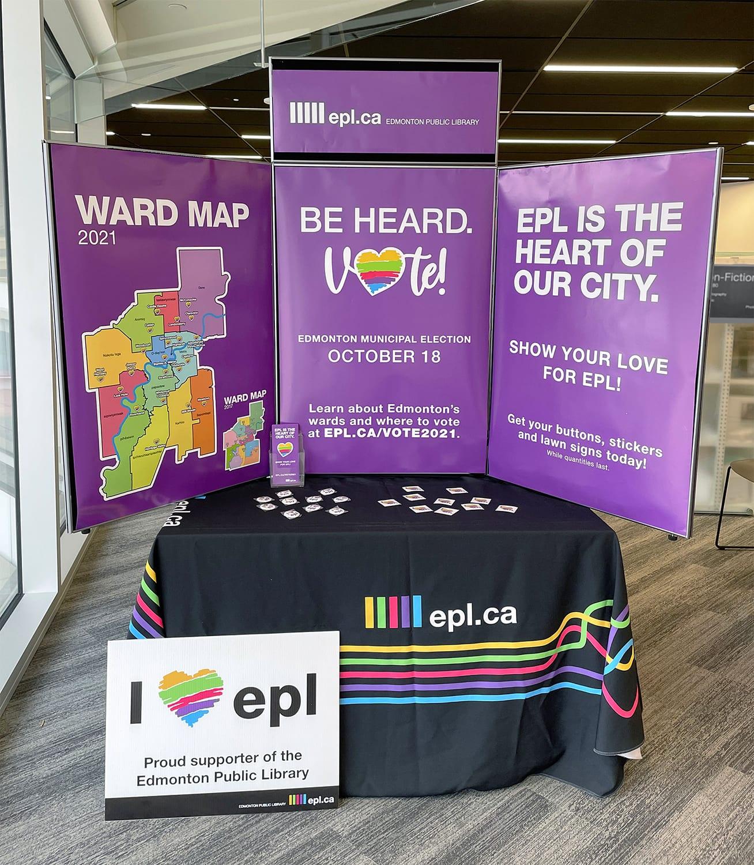 Purple Trifold display with 2021 Edmonton Municipal Election information