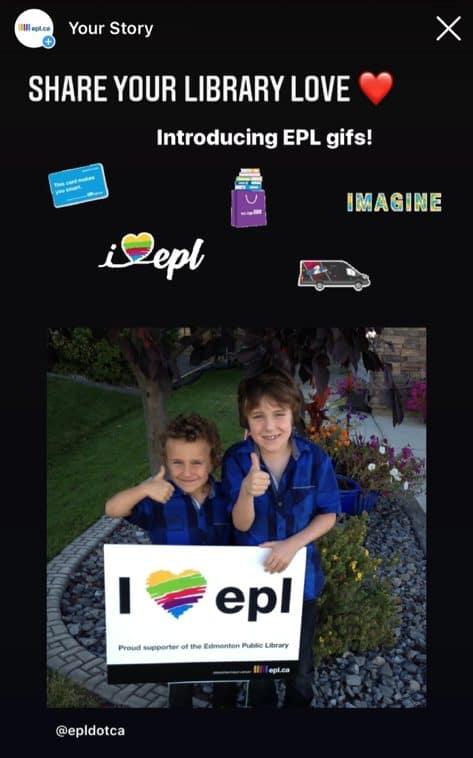 Instagram story demonstrating EPL Instagram GIFs
